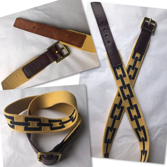 Coach Other - COACH HARNESS LEATHER WOOL BRASS BELT SZ 36